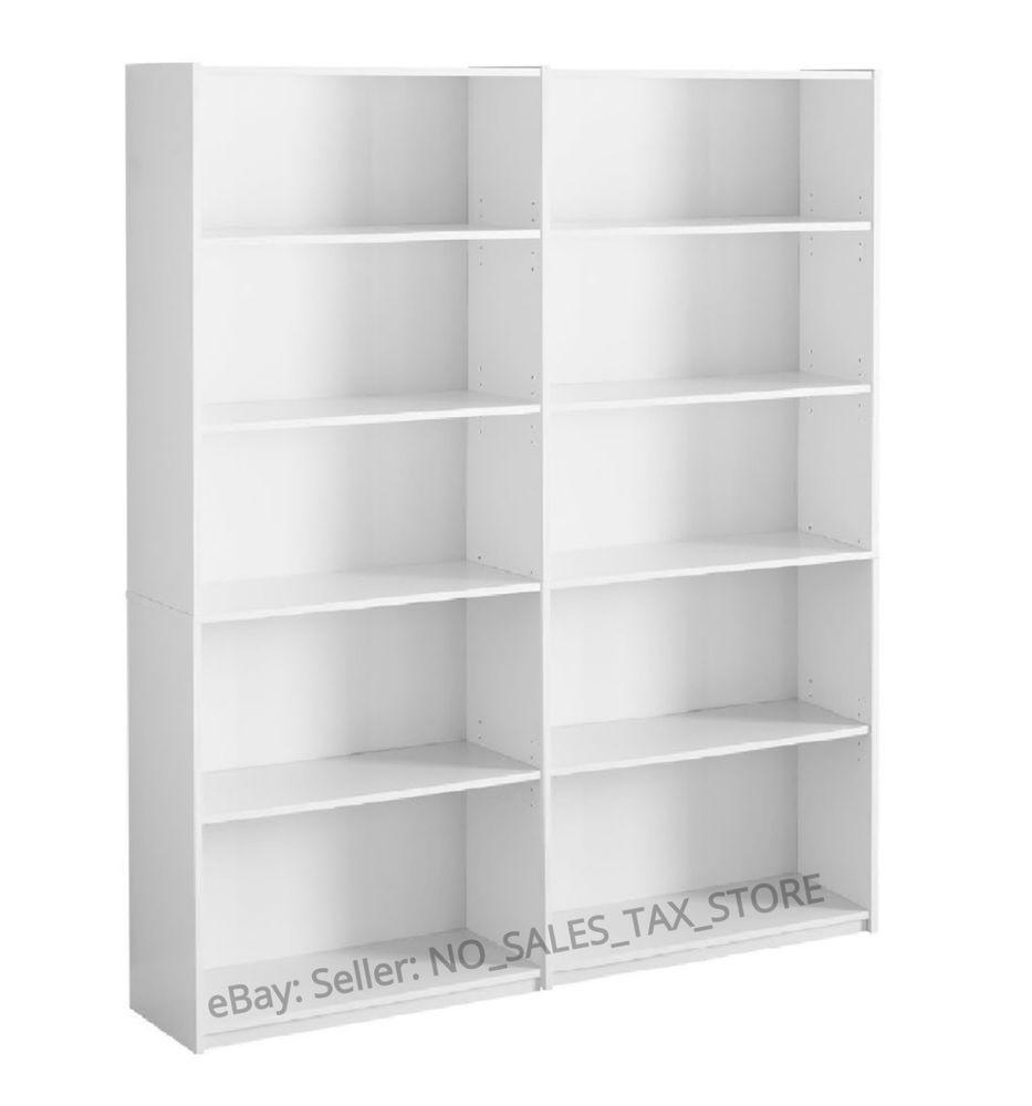 Bookcase Wide 5 Shelf Set Of 2 Pcs Adjustable Wood Bookshelf Storage White Unbranded Contemporary Bookshelf Storage Wood Bookshelves Shelves
