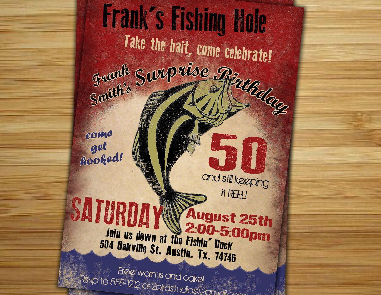 Fishing Birthday Party Invitation Invite