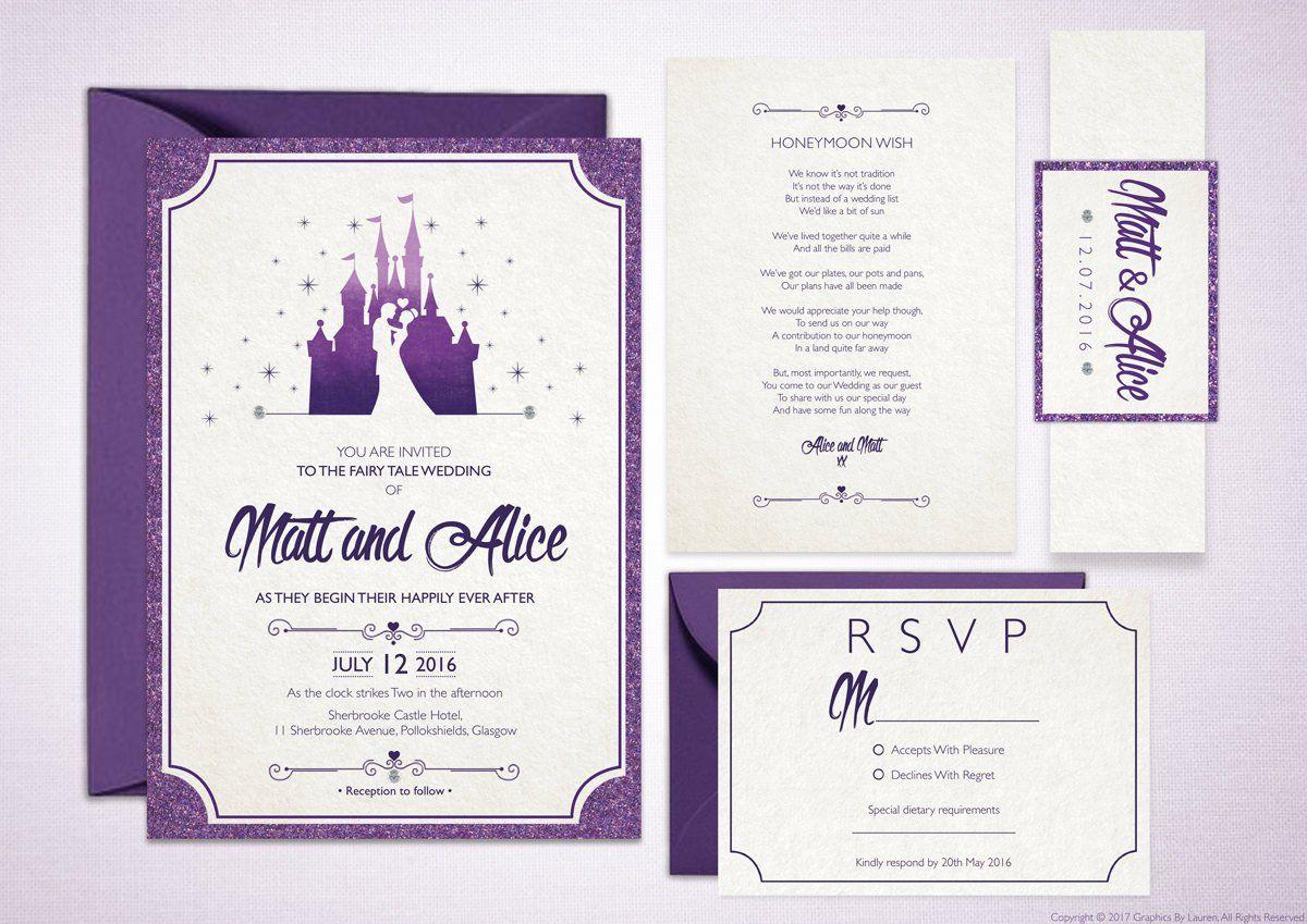 Fairytale Wedding Invitations Fairytale Castle Customised Etsy Fairytale Wedding Invitations Disney Wedding Invitations Castle Wedding Invitations
