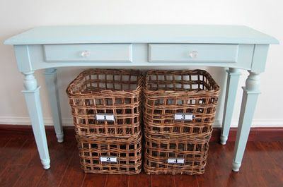 Duck egg blue table with drawers.