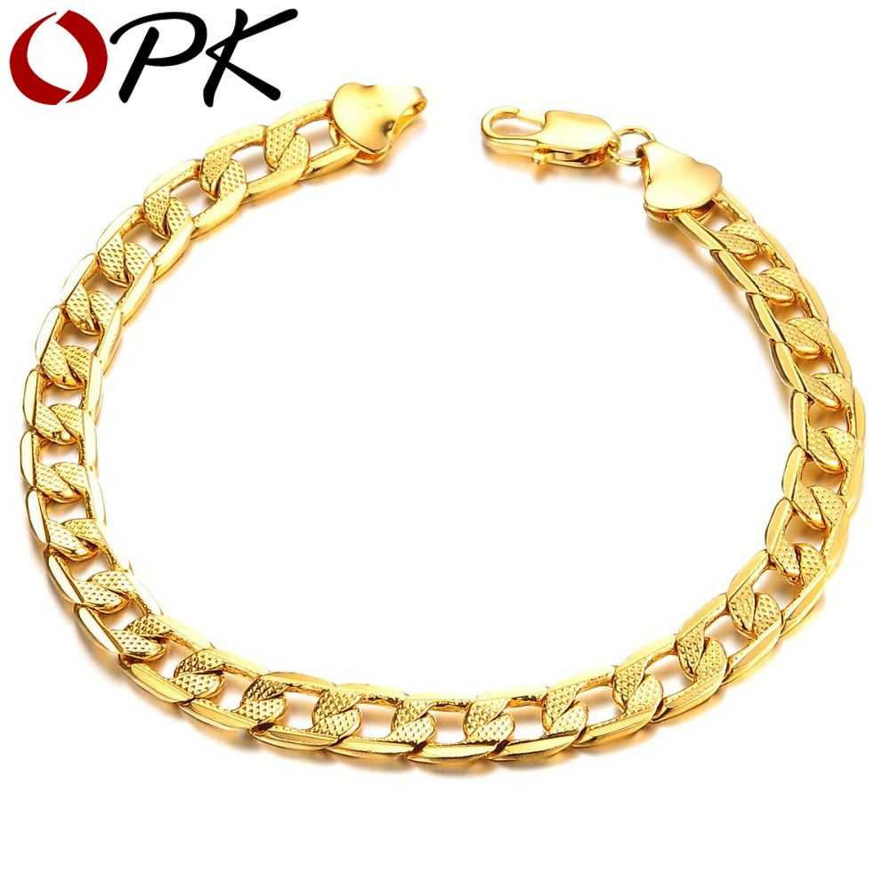 Jewelry classic luxury gold color link chain bracelet attractive men