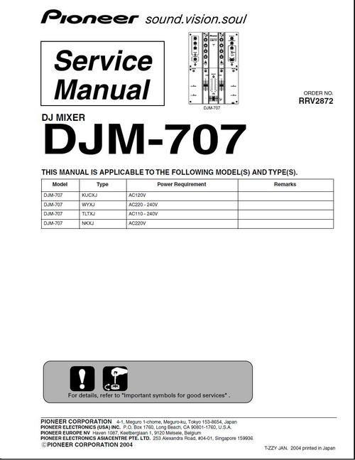 pioneer djm 707 mixer original service manual pdf format suitable rh pinterest ie Pioneer DJM 300 pioneer djm 400 service manual