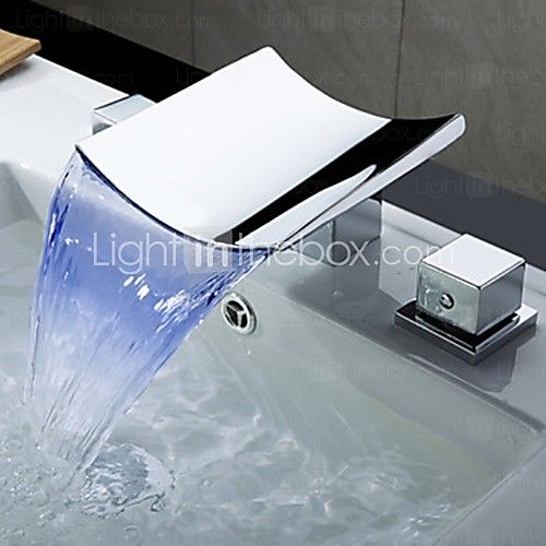 Contemporary LED/Waterfall Brass Chrome/Bathroom Waterfall Faucet ...