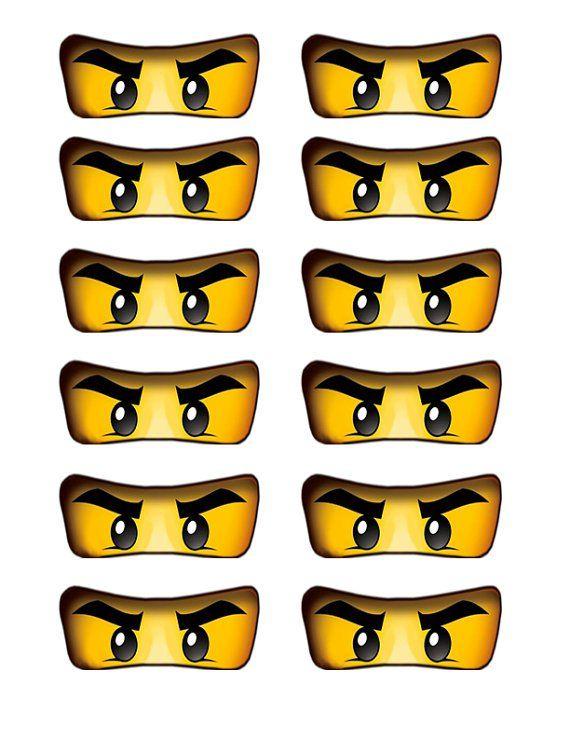 lego ninjago eyes cutout for birthday party balloons cake cupcakes