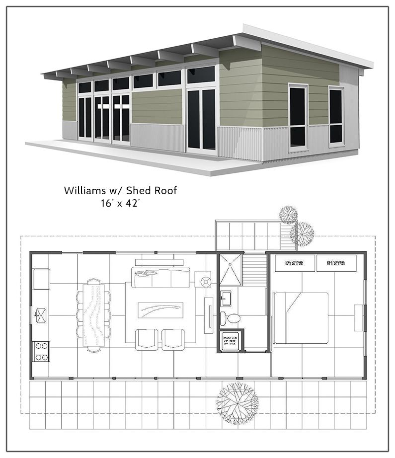 Williams shed roof with the bedroom in a loft above the Small shed roof house plans