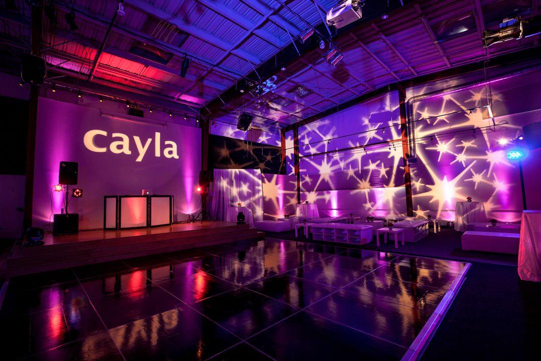 Club Theme Bar Bat Mitzvah Name Gobo In Lights Splatter Lighting Design Purple Blue Lounge By Db Creativity