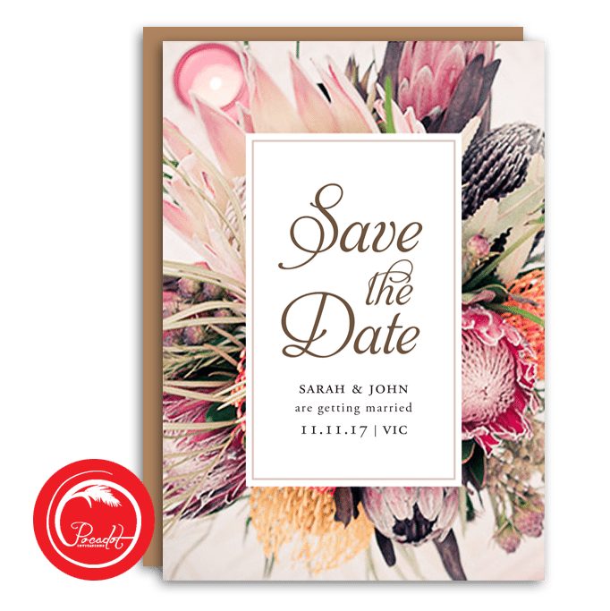 Native Australian Floral Save the Date Card Floral save