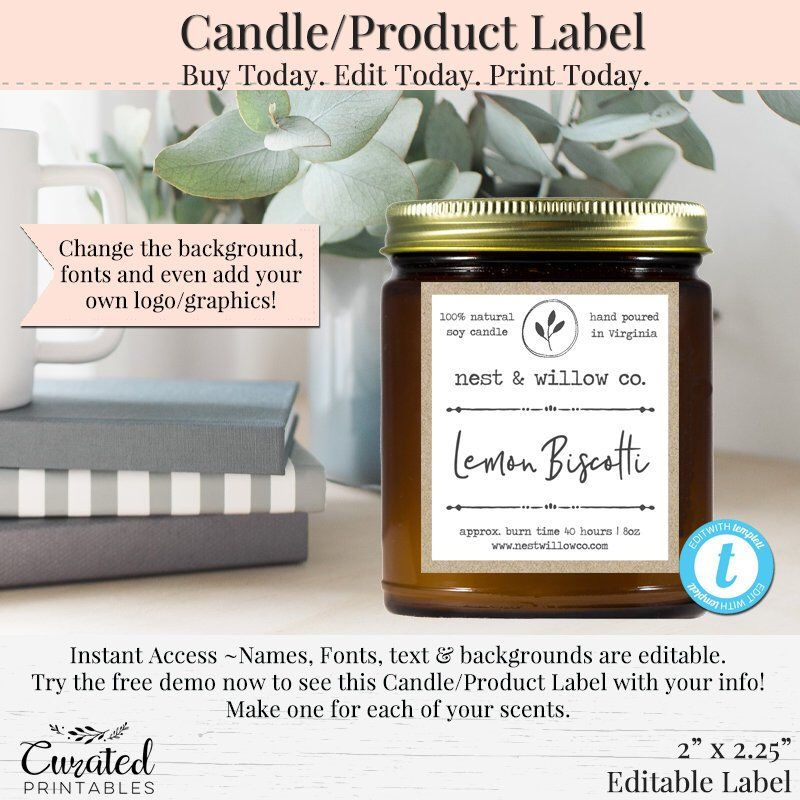 Diy candle label editable label bath product label diy