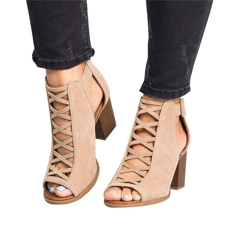 Women Peep Toe Chunky Heel Sandals