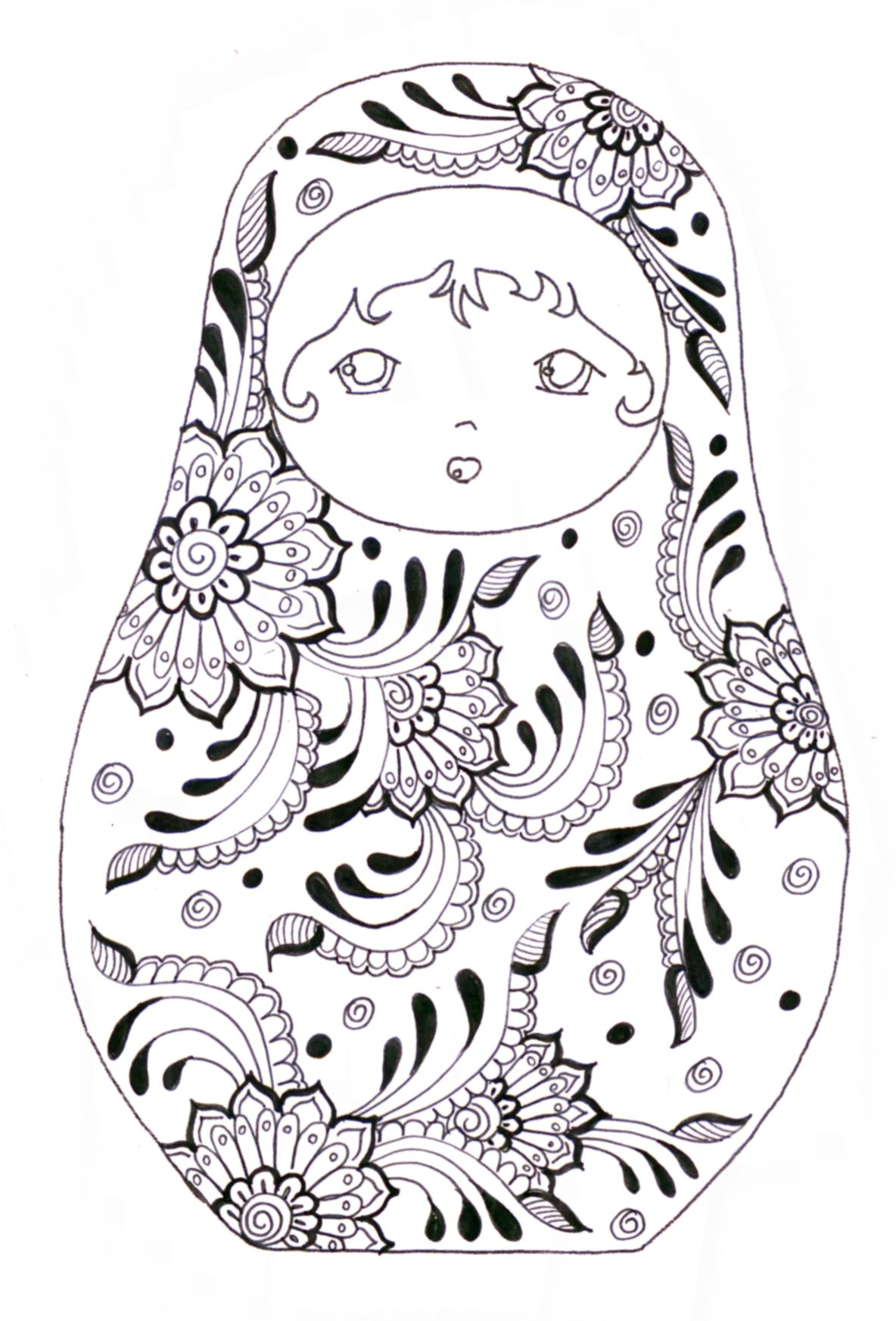 Matryoshka - coloriage | Matrioskas | Pinterest | Pintar, Colorear y ...