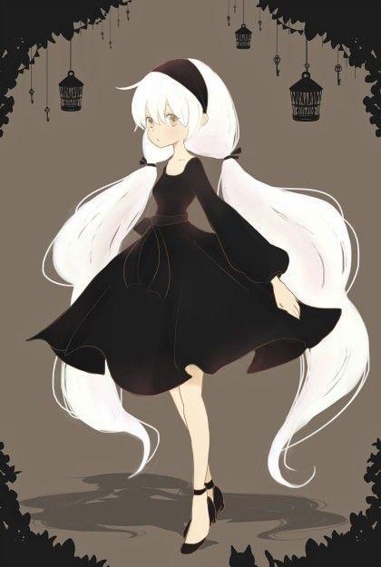 white hair black dress and headband