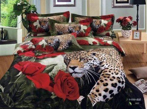 Home Textiles 100 Cotton Luxury Queen Size 3d Bed Set Bedding Set Bedclothes Animal Lion Tiger Leopard Printed Duve Rose Bedding Print Bedding Bed Duvet Covers