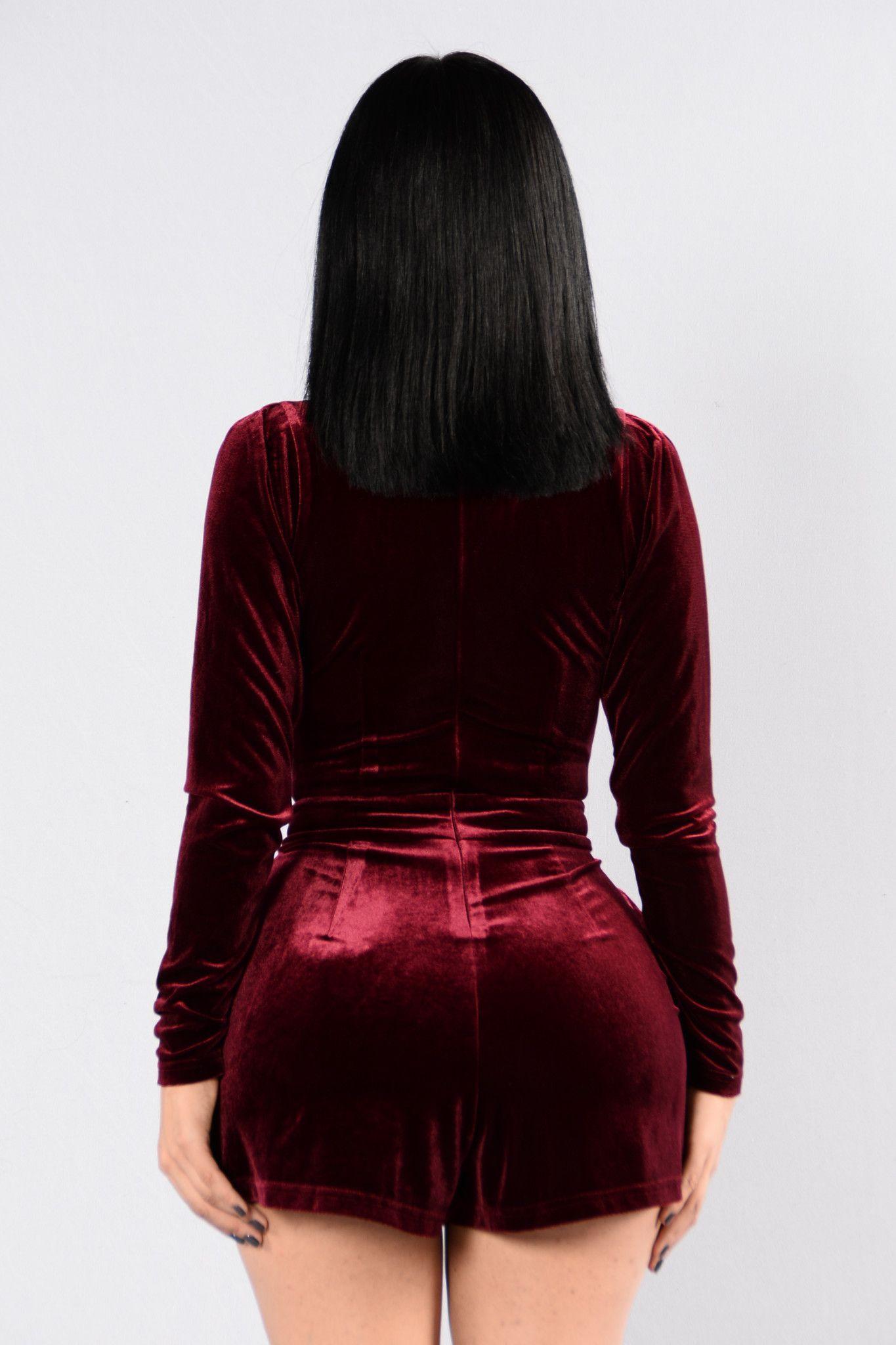 Available in Wine and Navy Velvet Romper Zipper Back Deep V Neckline Long Sleeve Side Pockets 95% Polyester 5% Spandex