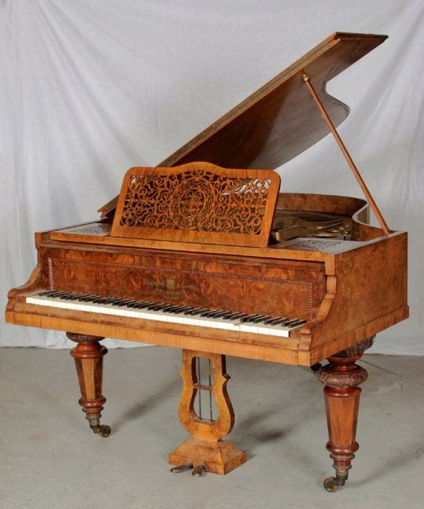 Burl Walnut Baby Grand Piano Steinway Chickering And Other Rare Vintage Grand Pianos Baby Grand Pianos Piano Piano For Sale