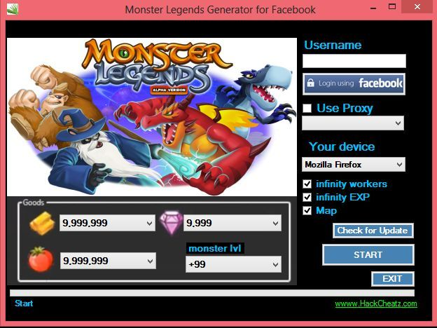 Monster Legends Hack Cheat Tool Gold Gems Food Workers Eggs