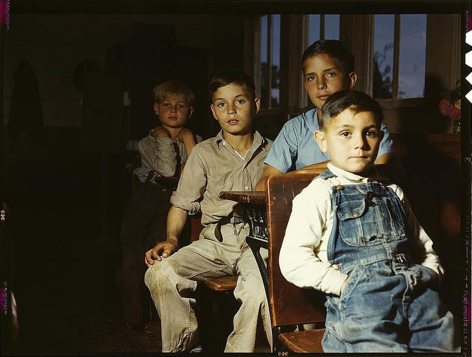 Rural school children. San Augustine County, Texas, April 1943. Reproduction from color slide. Photo by John Vachon. Prints and Photographs Division, Library of Congress