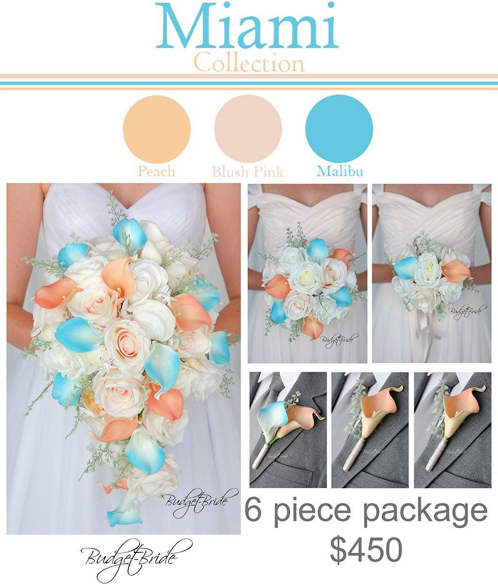 Davids Bridal Bellini Wedding Flowers Package Peach Petal Pink