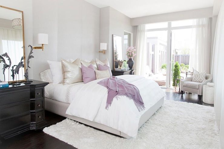 Suzie Carlyle Designs Pastel Bedroom With Soft Gray Walls Paint Color Swoop Arm Chair