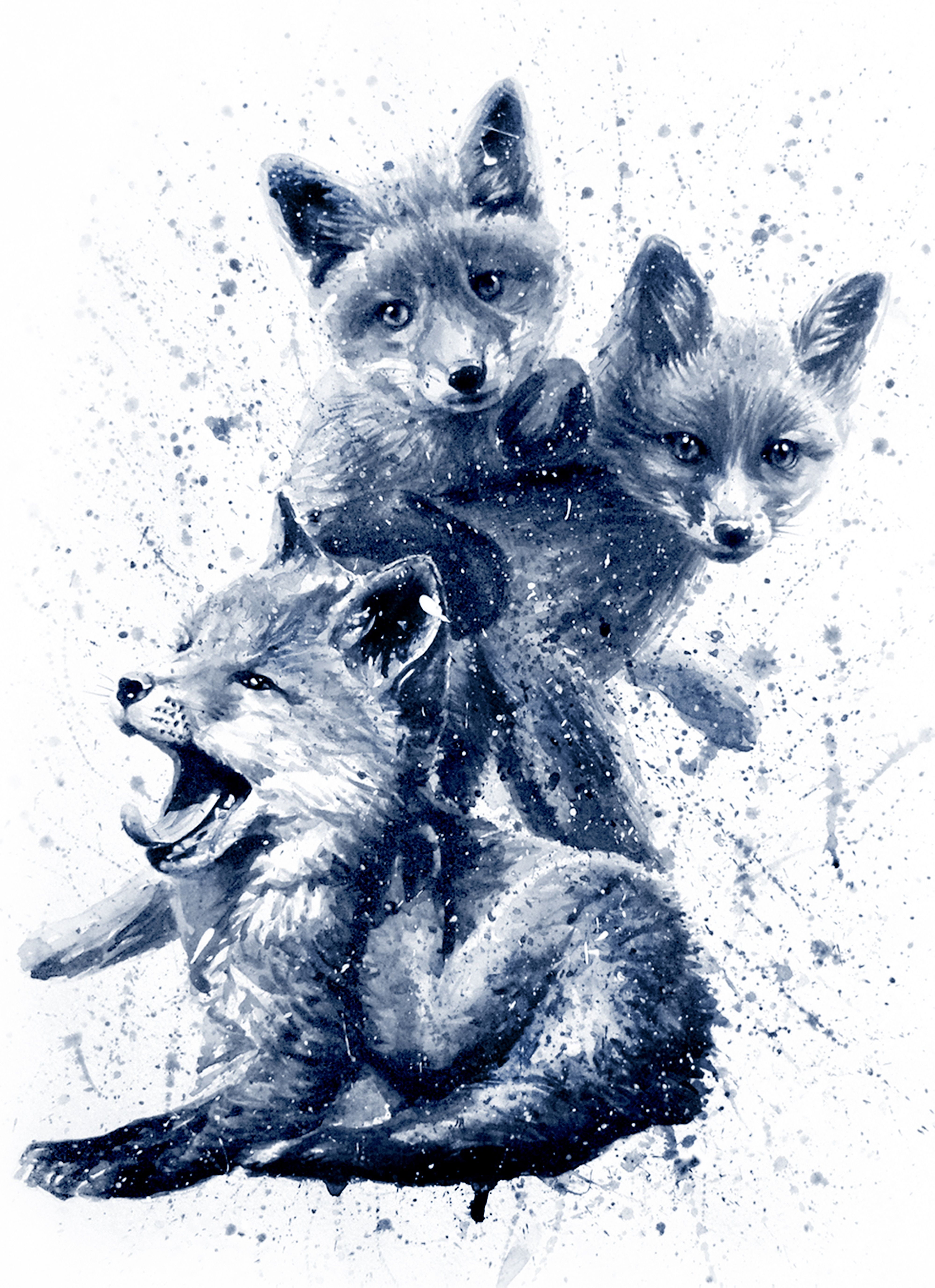 Little fox BLACK&WHITE   Fox tattoo, Paint vector, Vector art