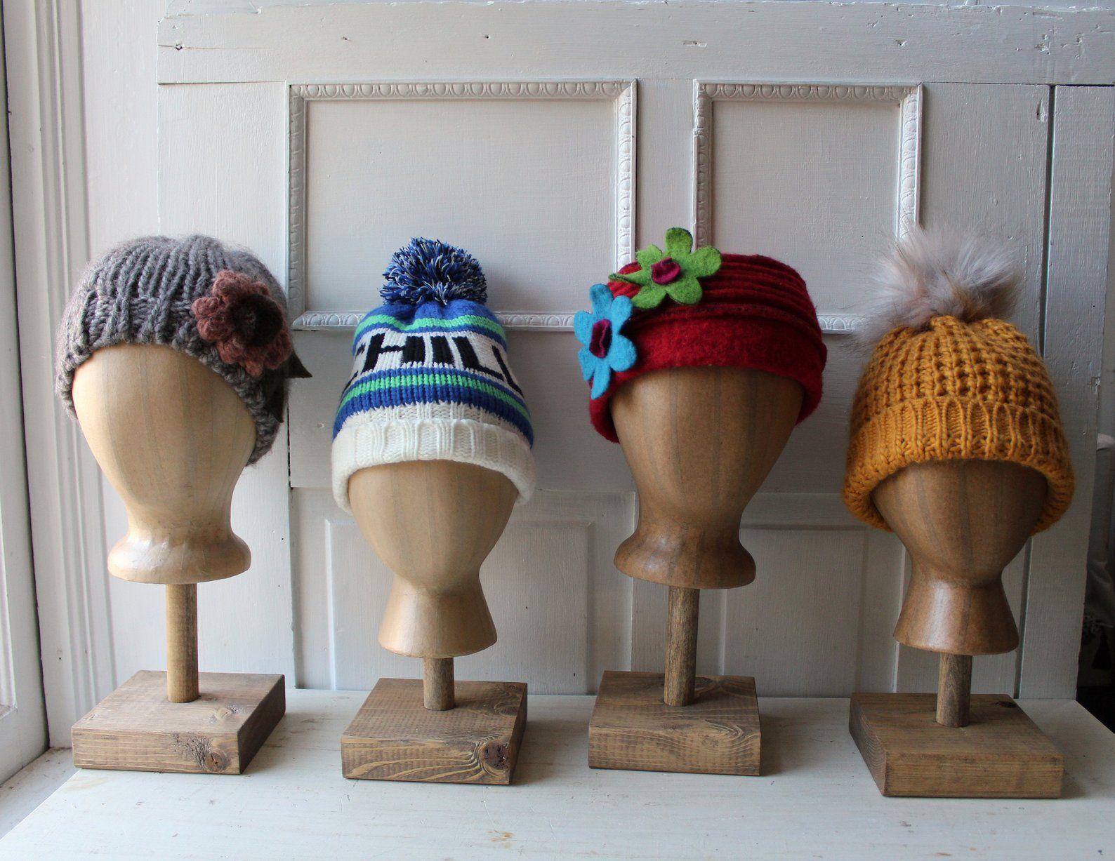 One Foam Kraft Brown Mannequin Head Hat Display W Wooden Etsy In 2021 Hat Display Beautiful Handmade Handmade Wooden