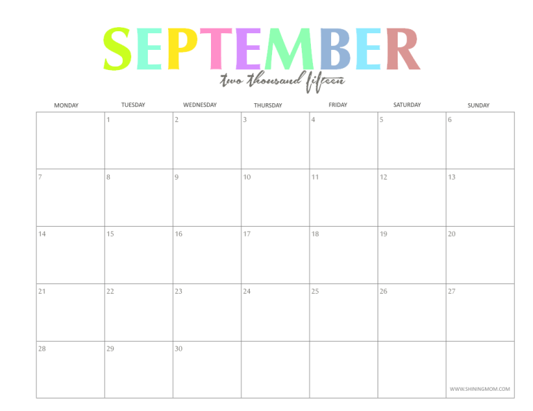 The Colorful 2015 Monthly Calendars By Shiningmom Are Here