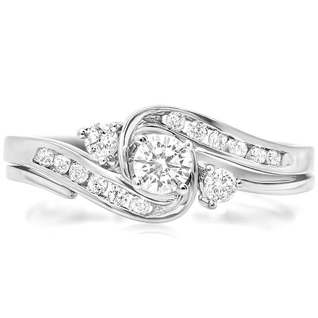 Elora 10k White Gold 1 2ct Tdw Round Cut Diamond Swirl Bridal Set