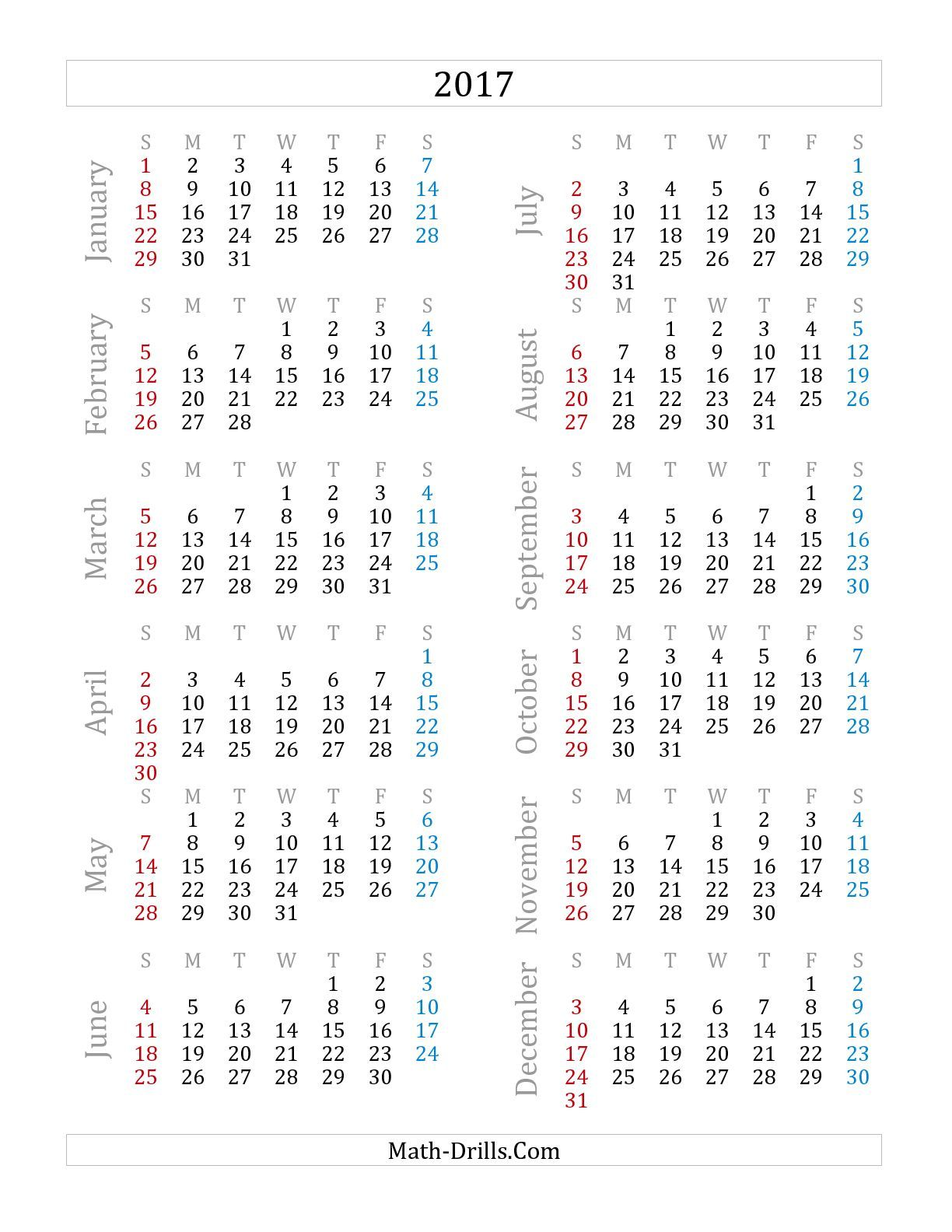 The 2017 Yearly Calendar (A) math worksheet from the Time