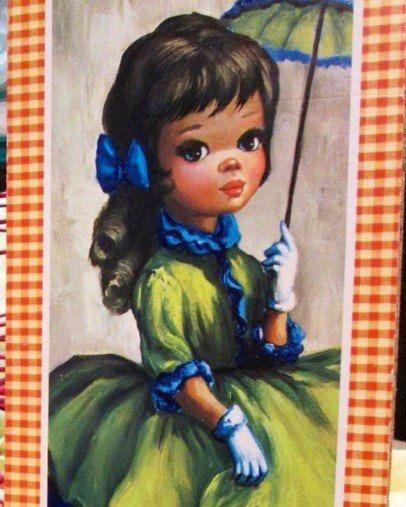 Big Eyed Maio Panting VINTAGE. Girl Doll w/Parasol by FriendsRetro