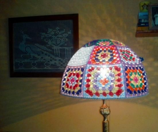 pantalla lampara crochet algodon hecho a mano a ganchillo