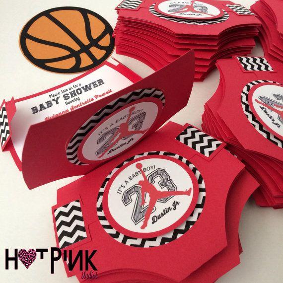 Baby Shower Themes · Air Jordan Inspired Diaper Invite By HotPinkStudios On  Etsy