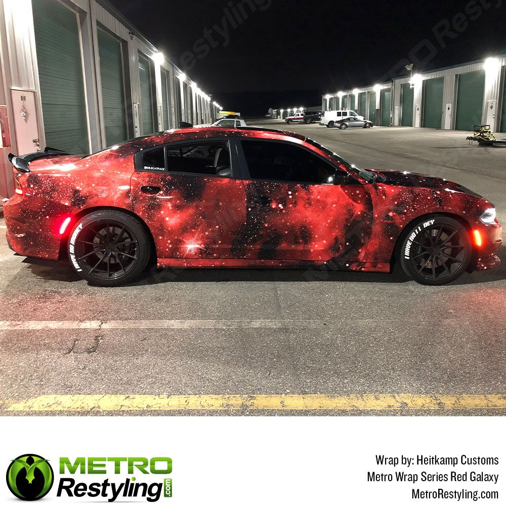 Metro Red Galaxy Vinyl Vehicle Wrap Film With Red Tones Car Wrap Galaxy Car Vehicle Wrap Advertising