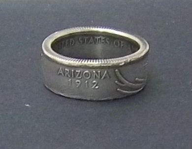 Silver coin ring Arizona State quarter year 2008 size by azcoinart