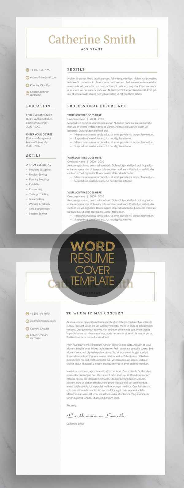 Word Cv Templates 2007%0A Word Resume  u     Cover Letter Template