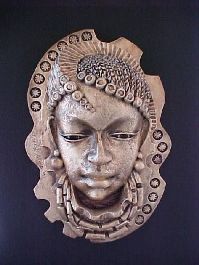 """""""Maid"""" by Chidi Okoye - Resin high relief sculpture mounted on plywood or black board;"""