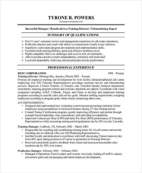 Sample Resume For Customer Service Manager - Free Professional