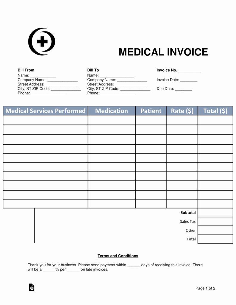 Medical Billing Invoice Template Inspirational Free Medical Invoice Template Word Pdf In 2020 Invoice Template Word Invoice Template Statement Template