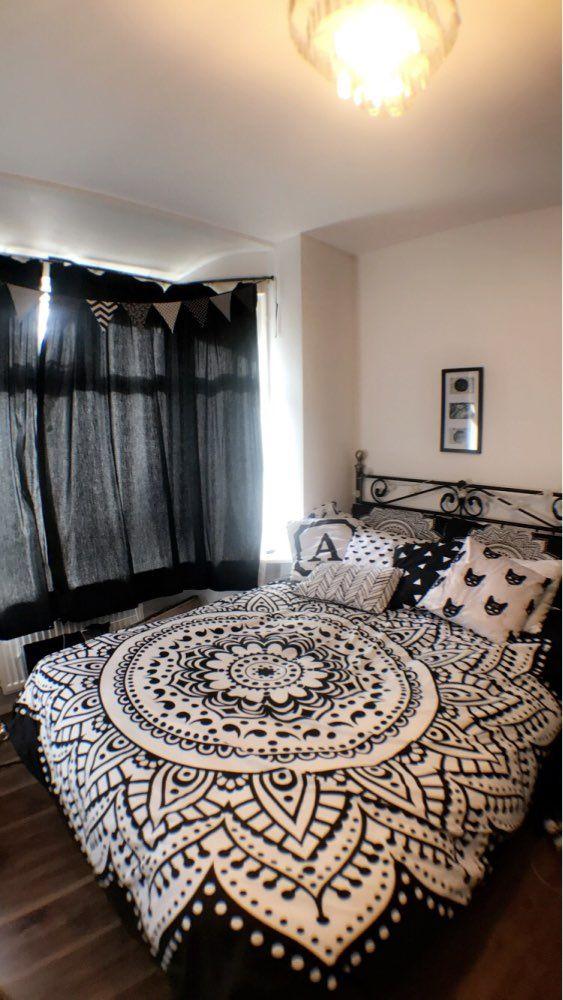 Best Black White Mandala Print Bedding Set In 2020 Boho Bedding Boho Comforters Hippie Bedding 400 x 300