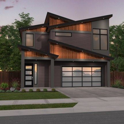 Narrow Modern Two Story House Plan | Shed roof design ...