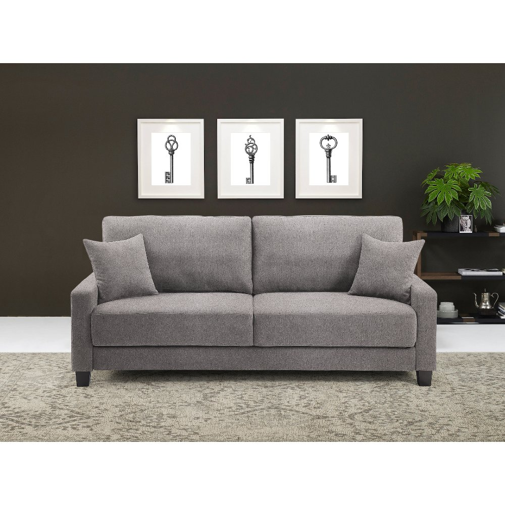 Ella Mushroom Gray Drop Back Queen Convertible Sofa Bed Winston