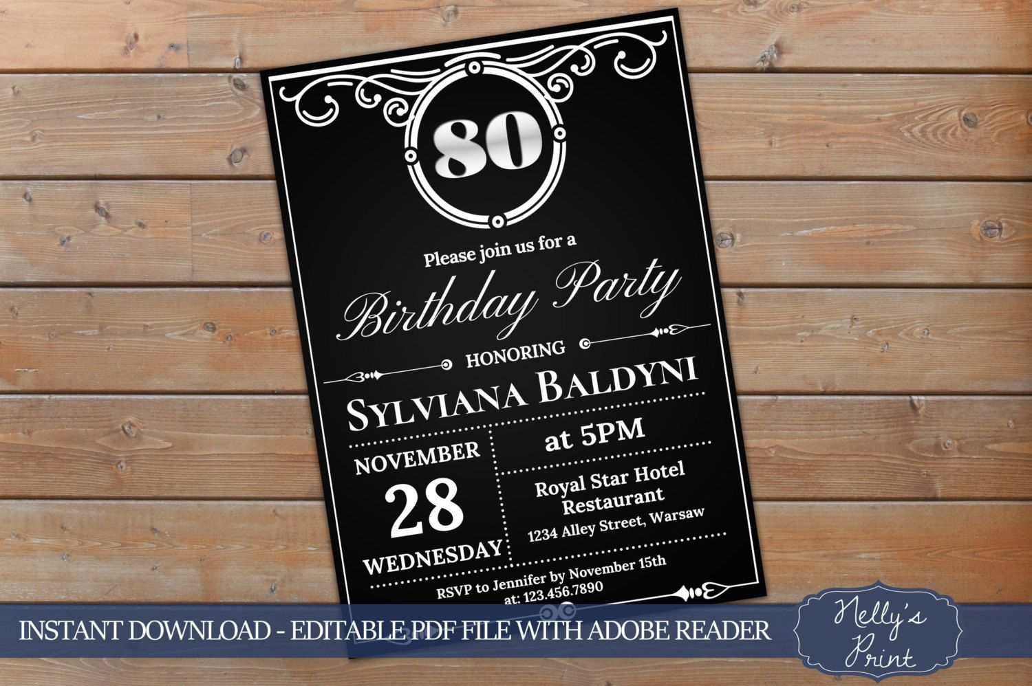 80th Birthday Invitation Vintage Party Invitation Adult Birthday
