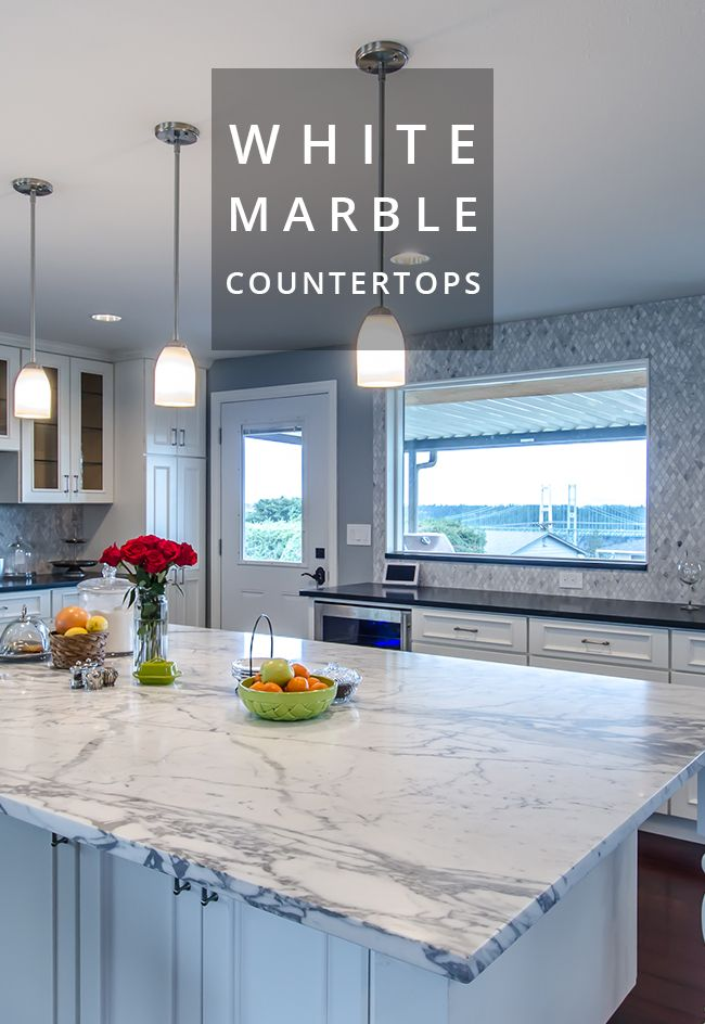 White Carrara Marble Island Countertop From Pental Surfaces Built By New Leaf Cabinets Counters Kitchen Inspiration Design Island Countertops Kitchen Design