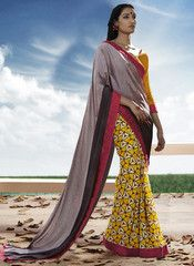 Ftrendy Brown & Yellow colored Georgette  Printed Saree