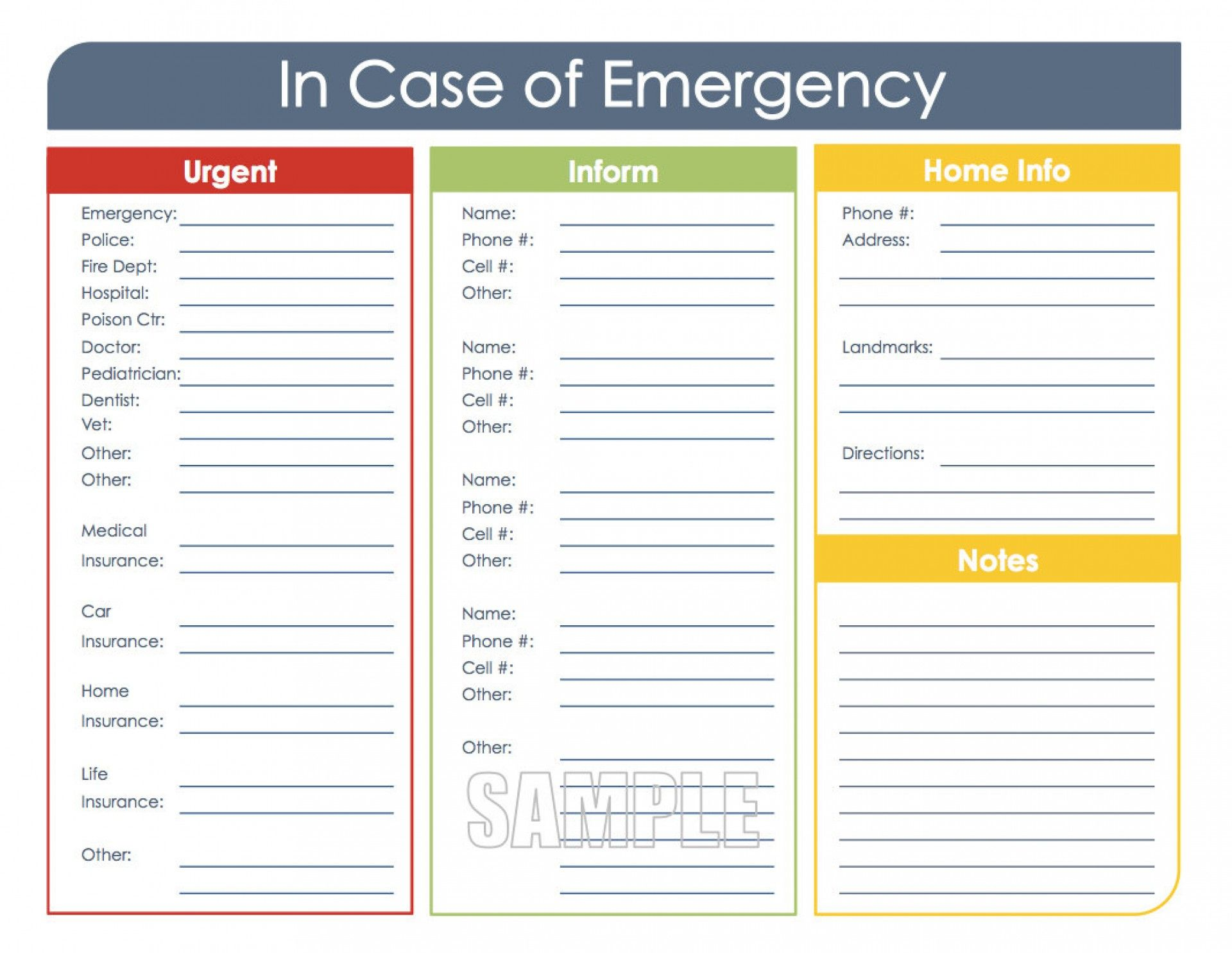In Case Of Emergency Template from i.pinimg.com