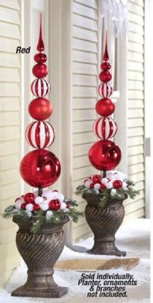 Red & White Finial Stake Ball Ornament Christmas Outdoor Holiday Yard … | White christmas ...