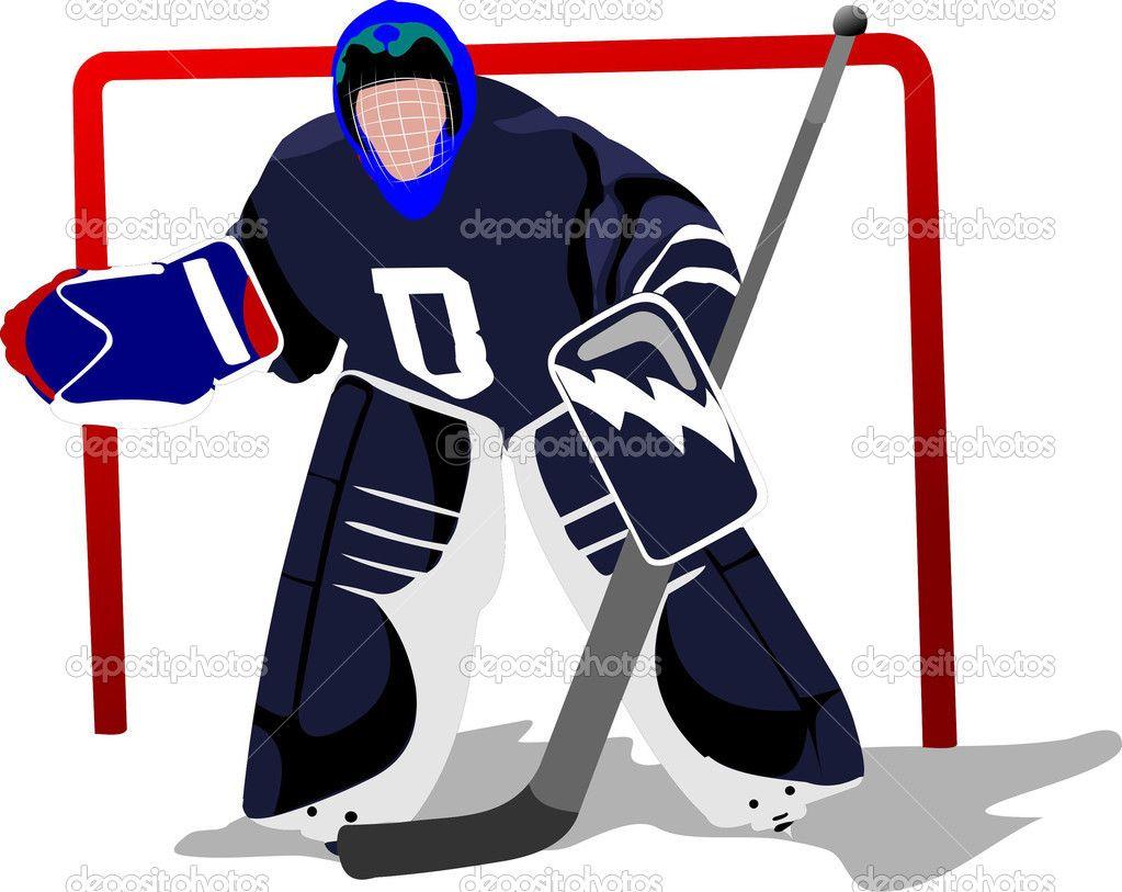Ice Hockey Player Goalkeeper Vector Illustration Ice Hockey Hockey Hockey Players