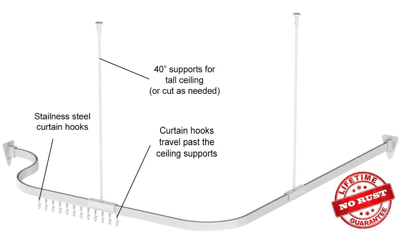 Amazon Com Bendable Shower Curtain Rod Curve Arch Custom Corner