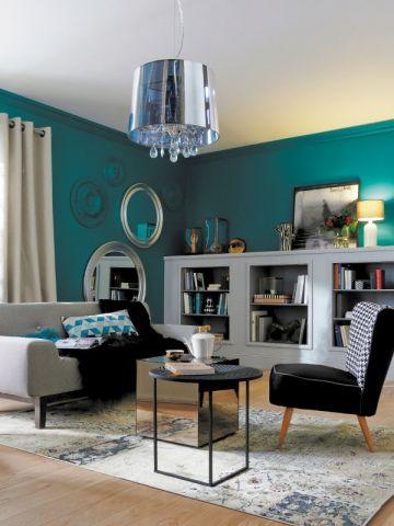 déco salon bleu canard   Salon   Pinterest   Salon éclectique, Mur ...