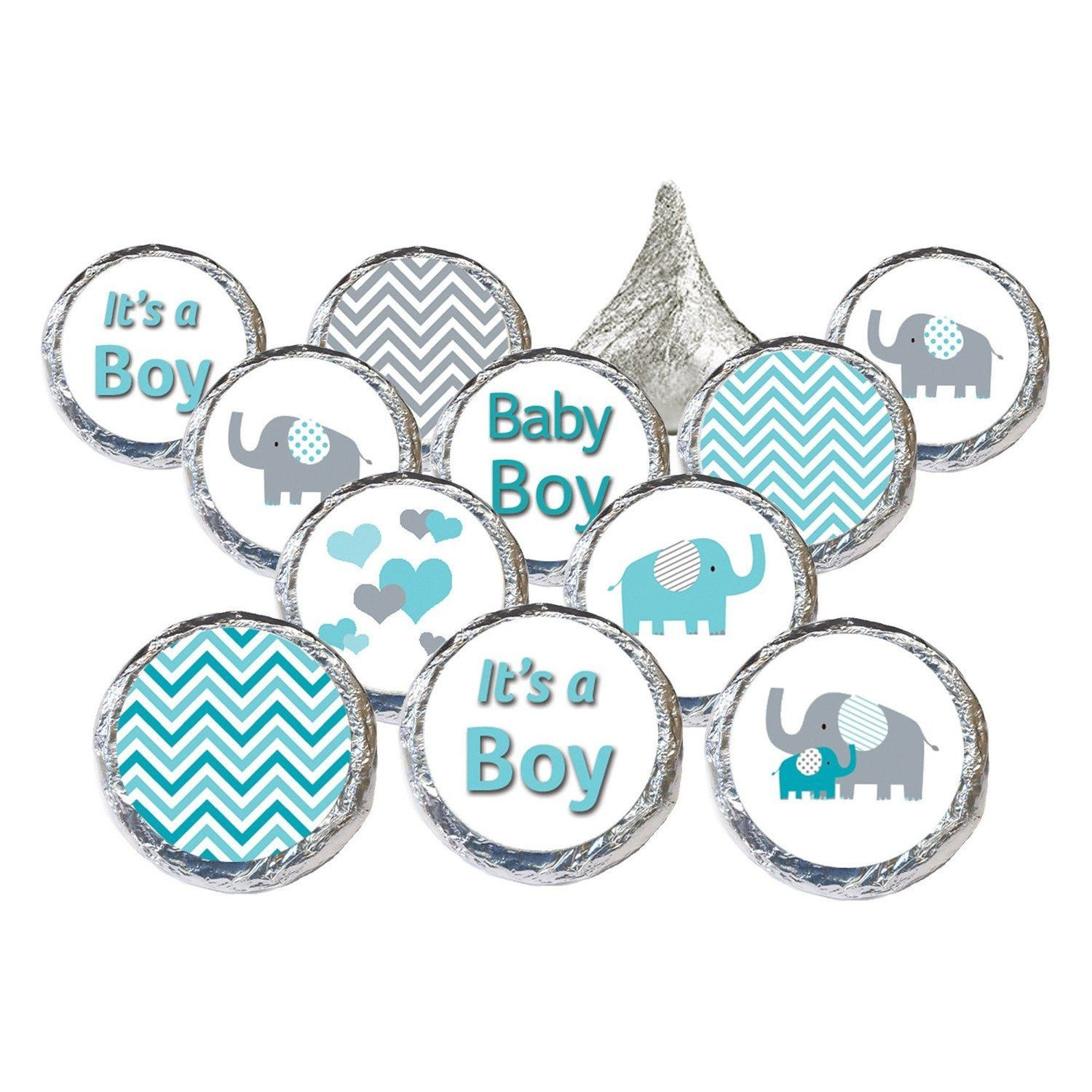 Teal Blue And Gray Elephant Boy Baby Shower Stickers