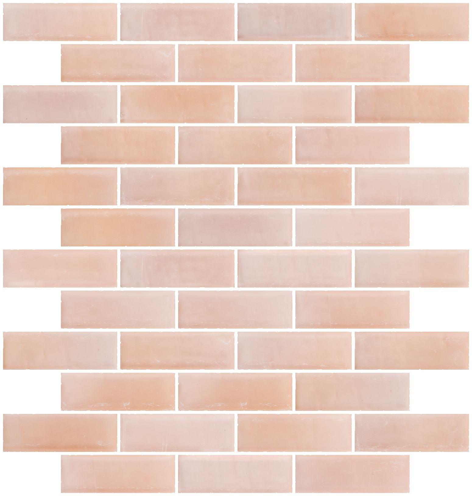 Kitchen Tiles Pink 1x3 inch matte peach pink glass subway tile for backsplash