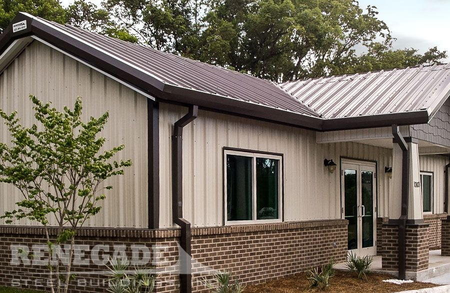 Best Tan Metal Building With Brick Wainscot And Brown Roof And 400 x 300